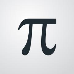 Icono plano simbolo Pi en fondo degradado