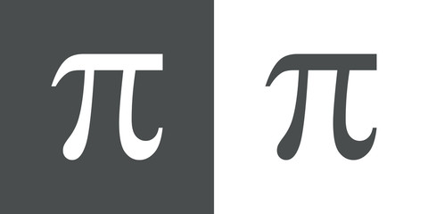 Icono plano simbolo Pi gris