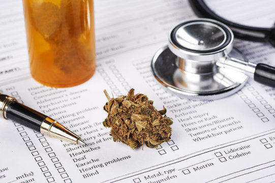 medical marijuana and a stethoscope in a doctor's office