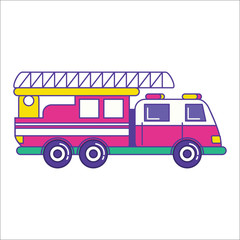 Fire truck icon in trendy flat line style. Bright firefighting v