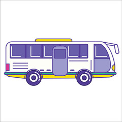 City bus icon in trendy cartoon flat line style. Mass transit ve