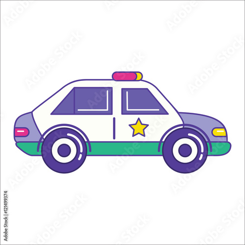 """""""Police car icon in trendy flat line style. Patrol vehicle ..."""