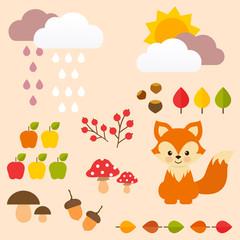 autumn set with fox