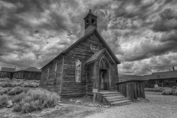 Old Methodist Church in Bodie Ghost Town, Bodie, California Wall mural