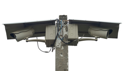 Two Closed Circuit Televisions (CCTV) / Cameras mounted on a con
