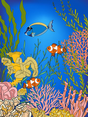 Corals and fish. Coral reef collection. Stock linen vector illustration.