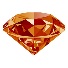 Realistic shining orange topaz jewel isolated on white background. Colorful gemstone that can be used as part of logo, icon, web decor or other design.