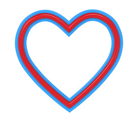 Red-blue plastic heart picture frame isolated on white. 3D illustration.