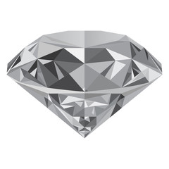 Realistic diamond isolated on white background. Can be used as part of logo, icon, web decor or other design.