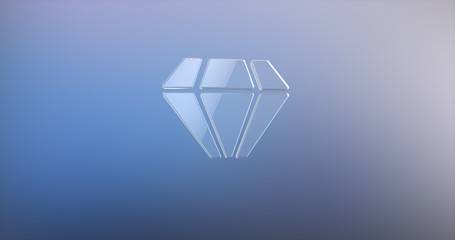 Diamond Gem Glass 3d Icon on gradient background