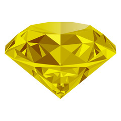 Realistic shining yellow topaz jewel isolated on white background. Colorful gemstone that can be used as part of logo, icon, web decor or other design.