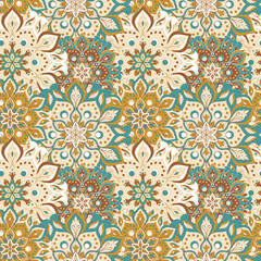 Seamless hand drawn mandala pattern. Vintage elements in oriental style. Texture for wallpapers, backgrounds and page fill. Islam, arabic, indian, turkish,ottoman, asian motifs. Vector illustration.