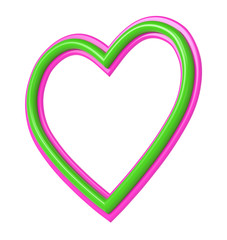 Green-pink plastic heart picture frame isolated on white. 3D illustration.