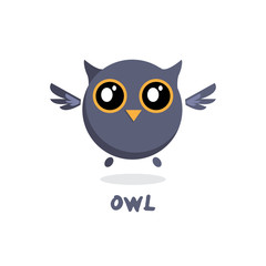 Owl vector illustration. Owl cute cartoon character. Bird animal. Flat vector design on white background.