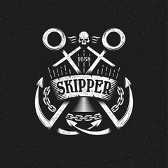 Marine grunge logo with two crossed anchors, ribbon and chain on a dark background. Textures, text and background on separate layers.