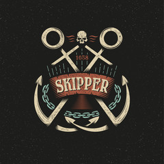 Anchor marine hipster logo, emblem, mascot in vintage style on a dark background. Textures, backgrounds on separate layers. Vector illustration.