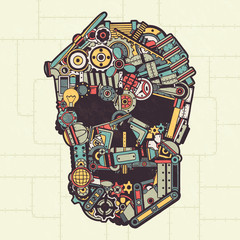 Skull made from a variety of machinery parts, appliances, pipes, machinery. Vector illustration. All elements are drawn separately. Texture on a separate layer.