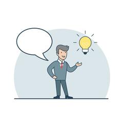 Linear Flat Business man idea Lamp Empty talk bubble vector