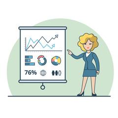 Linear Flat Business woman report vector Financial Analysis