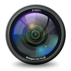 Photo video Camera lens isolated front view realistic vector