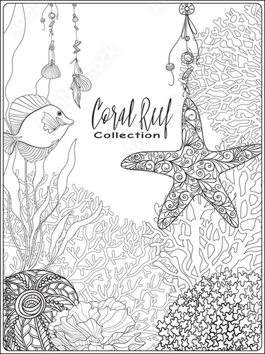 Coral reef collection.Anti stress coloring book for adult and ...