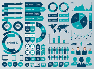 Mega Set Infographic Elements Vector Design