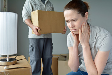 Upset woman when her partner is move out from home
