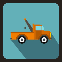 Car towing truck icon in flat style on a baby blue background vector illustration
