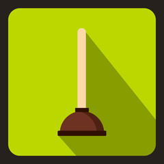 Cup plunger icon in flat style on a lime background vector illustration