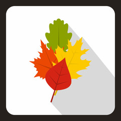 Leaves icon in flat style with long shadow. Plant symbol vector illustration