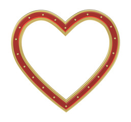 Golden-ruby heart picture frame isolated on white. 3D illustration.
