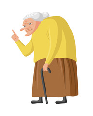 Grumpy granny with cane. Old lady waging her finger. Vector illustration, isolated on white