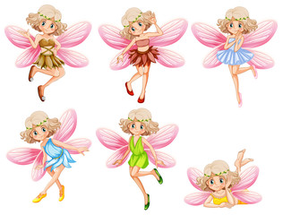 Six fairies with pink wings