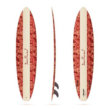 Vintage style vector realistic mini malibu surfing board