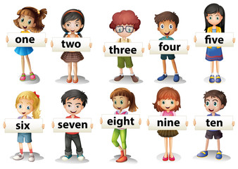 Children holding word cards with numbers