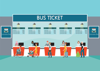 Bus terminal with people buying ticket at counter service.