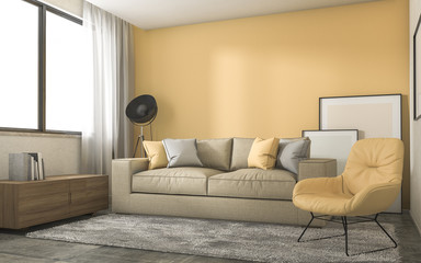 3d rendering yellow loft living room with minimal decoration