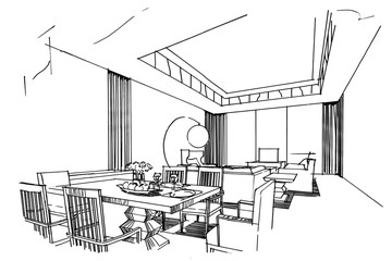 sketch stripes dining & living, black and white interior design.