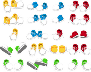 collection of shoes cartoon