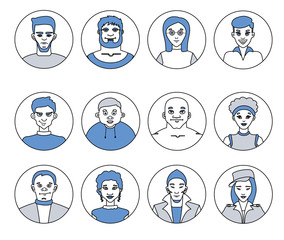 Avatars, characters people, men and women of different professions, flat vector line icons