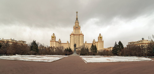 Wide angle winter view of Moscow university main building