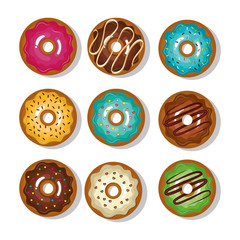 donuts collection dessert isolated graphic vector illustration eps 10