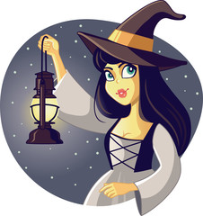 Beautiful Halloween Witch Holding Lantern Illustration