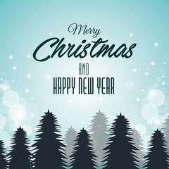 christmas card and new year pines and clouds graphic vector illustration eps 10