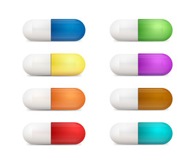 Medical pills icons set