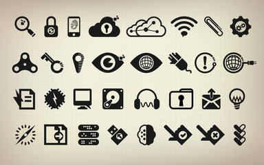 technology icon set, vector icon, abstract digital icon,