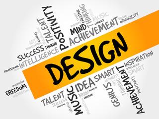 DESIGN word cloud, concept presentation background