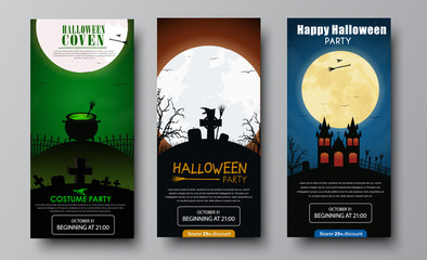 Design of flyers for Halloween party.