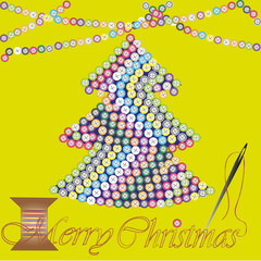 Merry Christmas greeting card or invitation  design greeting holiday new yeartree embroidered many color button, a garland on top the drawing and a needle and thread text vector illustration