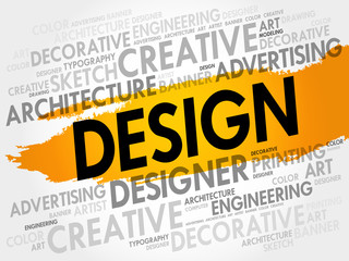 DESIGN word cloud, creative business concept background